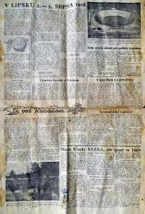 1 list z československých novin z roku 1956 - sport, vznik Sazky aj.