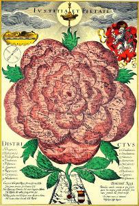 Historická mapa BOHEMIA  SYMBOLICKÁ RŮŽE 50 x 70 cm, FAKSIMILE