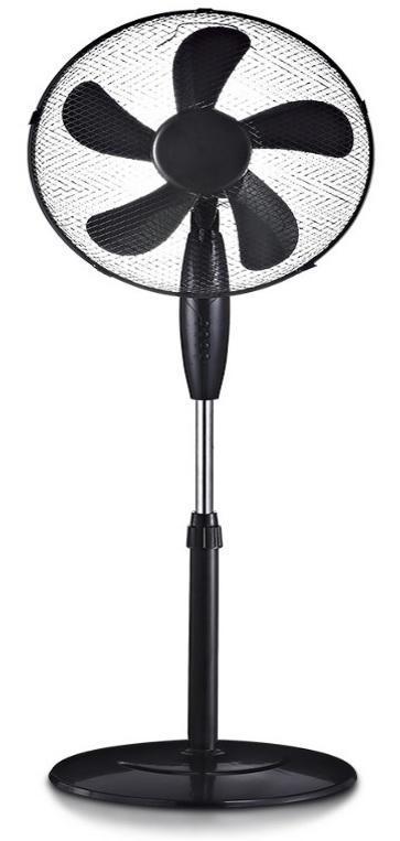 Stojanový ventilátor pětilistý černý - Vzduchotechnika, topení