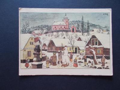 Umělecká pohlednice Josef Lada malíř Odeon Vánoce chalupa sněhulák dět