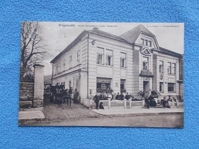 Opava Vítkov  Wigstadtl  Slezsko Sudety lidé pošta telegraf hotel !!