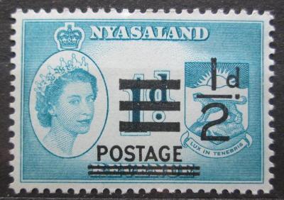 Ňasko, Malawi 1963 Královna Alžběta přetisk Mi# 114 1951