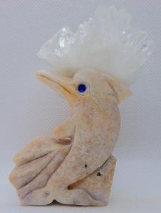 Přírodní Krystal - Křišťál + ruční práce, Delfín, čirý křemen, TOP A+