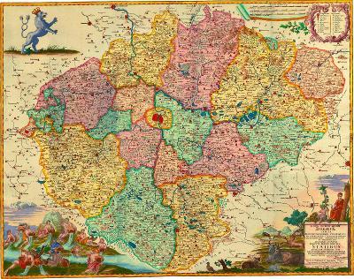 HISTORICKÁ MAPA ČECH, 50 x 63 cm
