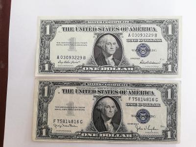 1 x USA 1 Dollar stříbrný certifikát 1957  + 1 x 1 Dollar 1935 D