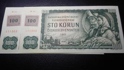 100 korun 1961,serie M kolkovana,top stav UNC!!Postupka!!
