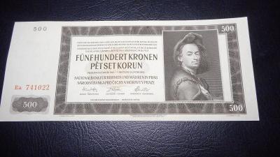 500 korun 1942 II.vydani serie Ea,top stav UNC!!