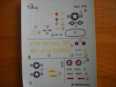 Obtisky - Bell 47D, Pavla Models 72205, 1/72