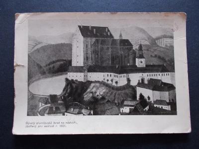 Prostějov Plumlov Plumlau zámek pohlednice bývalý hrad obraz rok 1790