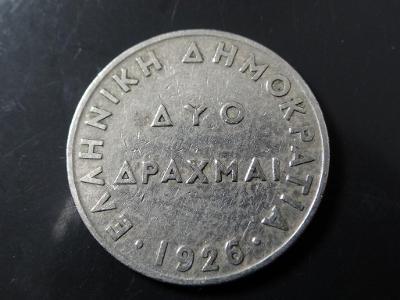 2 Drachma 1926, Řecko.