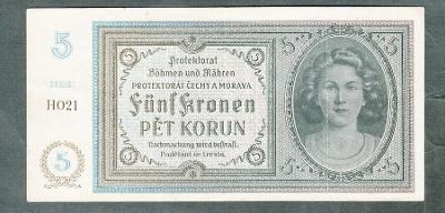 5 korun 1940 serie H021 NEPERFOROVANA