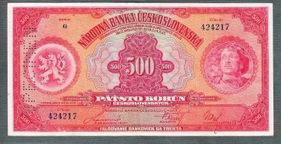 500 korun 1929  SVISLÝ SPECIMEN pěkný stav!