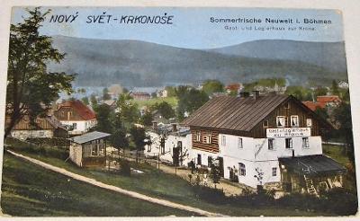 Nový svět, Harachov  - Gast und Logierhaus zur Krone  cca 1910