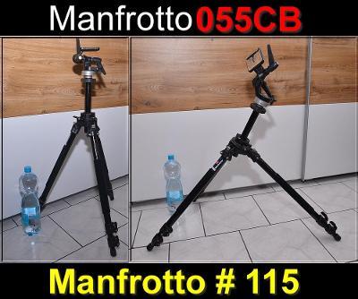 💥 Pro. Stativ Manfrotto 055 CB + 3D hlava 115**178 cm, Nosnost: 7KG**
