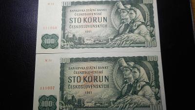 100 korun 1961,serie M ,top stav UNC!!Postupka!!