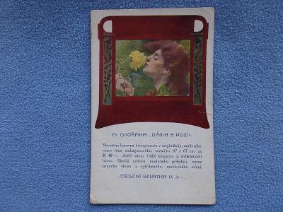 Pohlednice reklama nakladatel Otta Praha na obraz malíř Dvořák Dáma