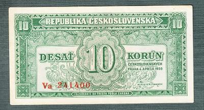 10 kčs 1950 serie Va NEPERFOROVANA