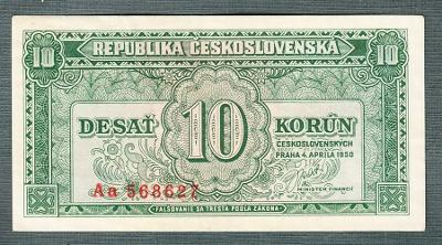 10 kčs 1950 serie Aa !!! NEPERFOROVANA