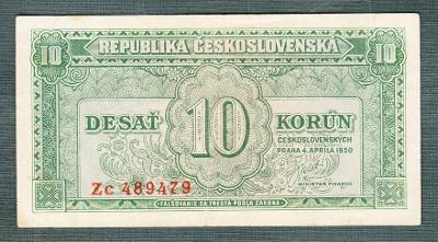 10 kčs 1950 serie Zc NEPERFOROVANA