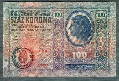100 korun 1912 razítko ROMANIA RUMUNSKO