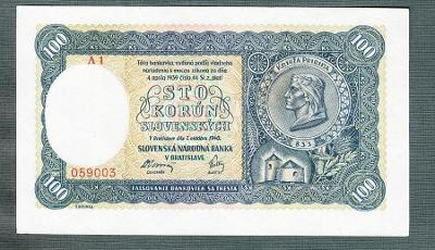 Slovensko 100 ks 1940 serie A1 !!!NEPERFOROVANA stav 0