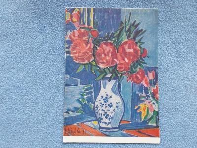 Pohlednice umělecká Svátek přání kytice ve váze Pivonky  malíř Špála