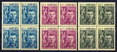 Albánie-J.A.Gagarin 1962**  Mi.647a-649a/čtyřbloky/ 360 €