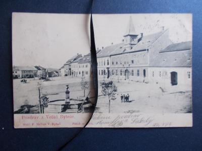 Brno venkov Velká Byteš náměstí stará pohlednice DA
