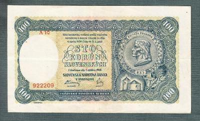Slovensko 100 ks 1940 serie A10 NEPERFOROVANA