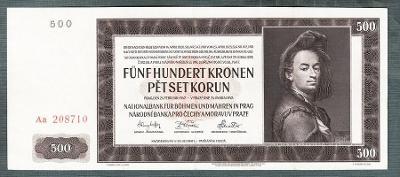 500 korun 1942 serie AA !!! NEPERFOROVANA stav 1+