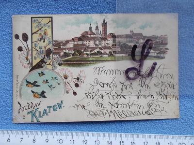 Šumava Klatovy litografie koláž s Bílou věží dlouhá adresa mutace