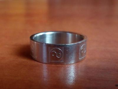 Pánský prsten, postříbřený, motiv Jin Jang