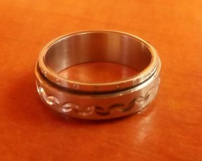 Pánský prsten, postříbřený, 2 v 1