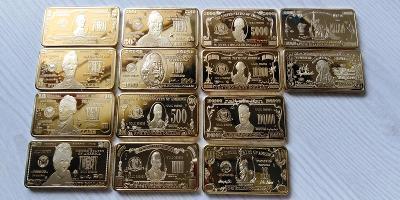 Kolekce sbírka cihliček DOLARY USA pozlacené sada cihly 14ks cihlička
