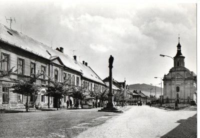 Pohlednice - Město Albrechtice - náměstí