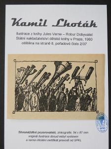 Kamil Lhoták - Jules Verne: zinkografie z knihy Robur Dobyvatel 2/37