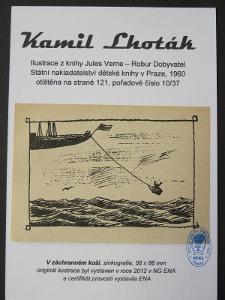 Kamil Lhoták - Jules Verne: zinkografie z knihy Robur Dobyvatel 10/37