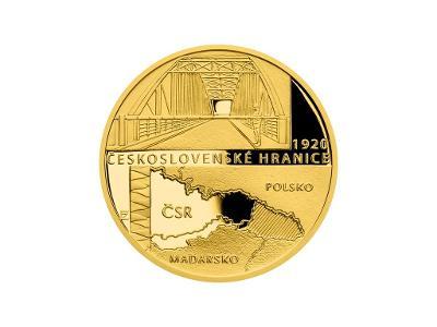 Zlatá mince 1/4 Oz Rok 1920 - Československé hranice proof