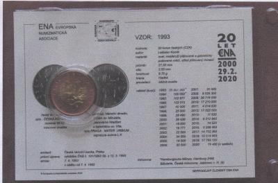50 Kč 2005 BU (ze sady) s jubilejní kartou ENA (c) 2021 v blistru