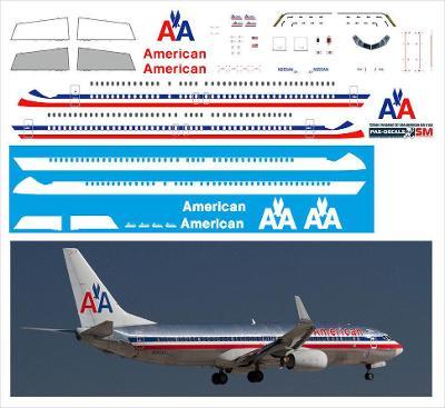 PAS-DECALS 737800-29 Obtisky letadla Boeing 737-800 American / 1:144