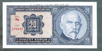 20 korun 1926 serie Rg perf. stav UNC