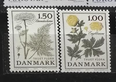 Dánsko 1977 - komplet, ohrožená flóra, květiny 3£