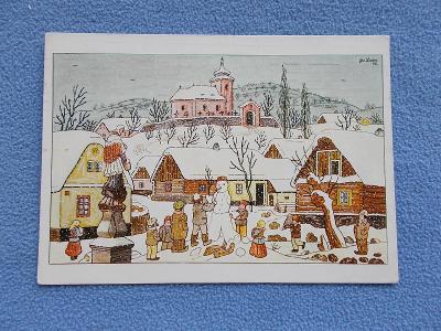 Umělecká pohlednice Josef Lada malíř Vánoce zima sněhulák  Odeon