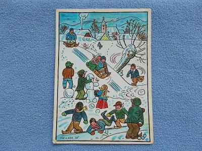 Umělecká pohlednice Josef Lada malíř Vánoce zima sáně  Odeon
