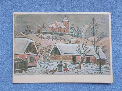 Umělecká pohlednice Josef Lada malíř  Odeon zima vánoce sáně