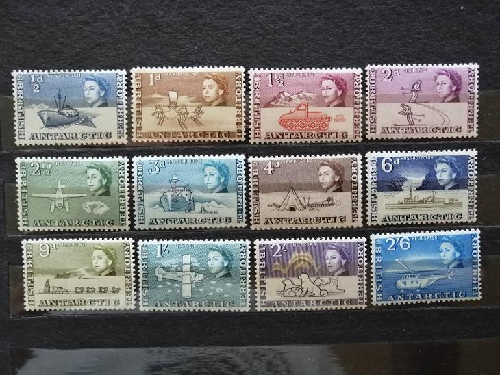 Britské Antarktické teritorium 1963 -komplet prvních známek do 2s6 55£ - Filatelie