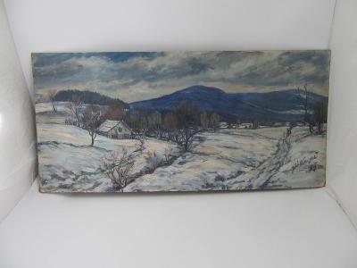 obraz olejomaľba na kartonu krajina zima vesnice hory strom Dědina