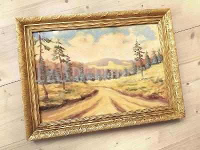 Starý obraz horská cesta olej karton sign. 1933