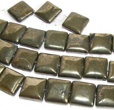 Pyrit čtverečky 10x4, korálky Py46
