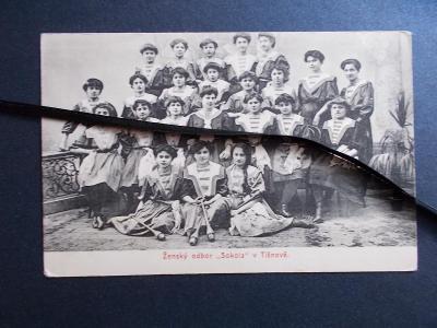 Brno venkov Tišnov skupinové foto portréty ženy Odbor Sokola Raritní !